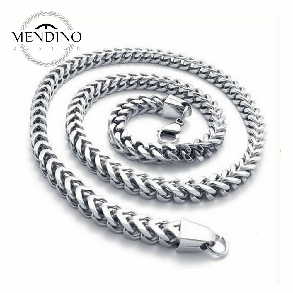 mendino men 39 s stainless steel necklace twist wheat link. Black Bedroom Furniture Sets. Home Design Ideas