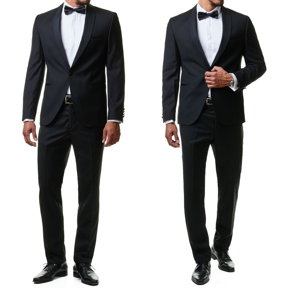 herren smoking anzug sakko jacket hose schwarz slim fit hochzeit dinner ebay. Black Bedroom Furniture Sets. Home Design Ideas