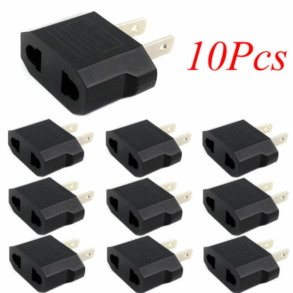 10pcs European Euro EU to US USA Plug Travel Charger Adapter Outlet Converter KY