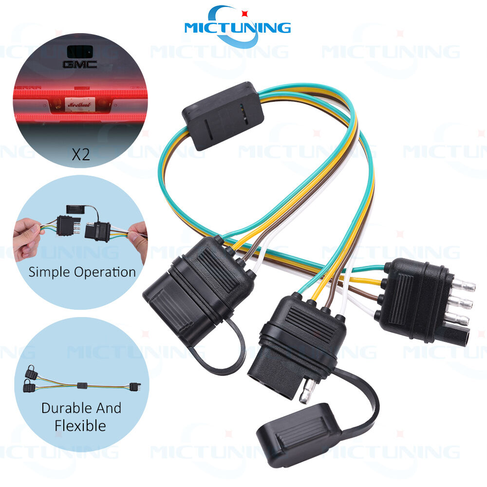 Trailer splitter pin y split wiring harness adapter for