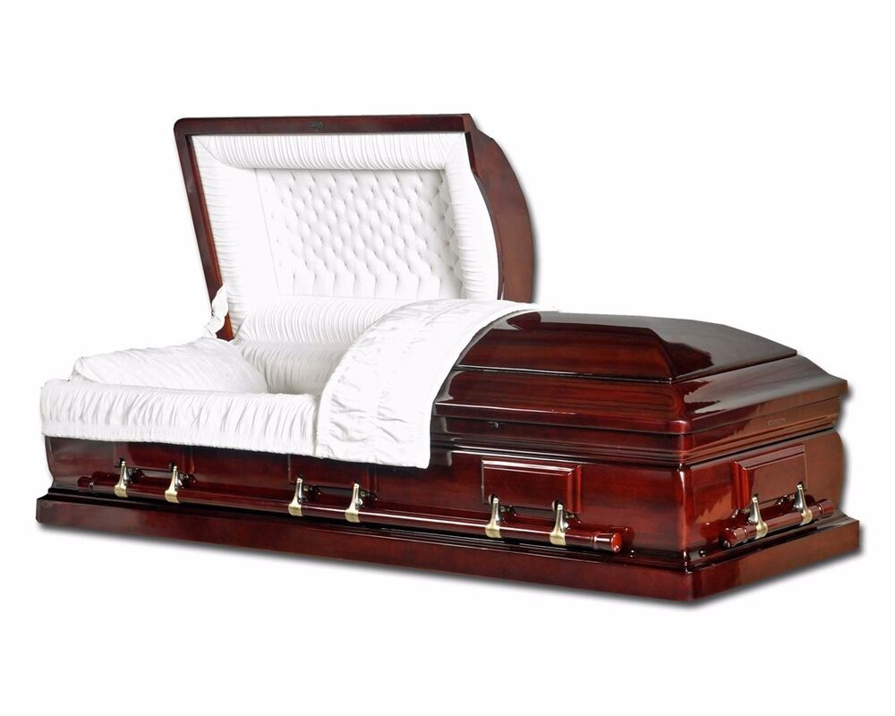 Funeral casket mahogany solid wood with velvet interior coffin solid wood ebay for Black casket with red interior