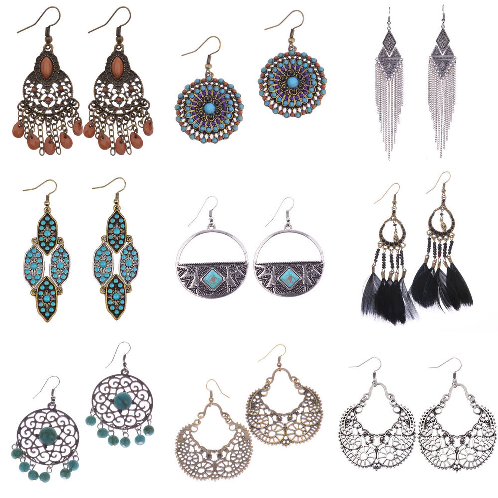 new vintage bohemian boho style crystal hollow beads tassel dangle earrings gift ebay. Black Bedroom Furniture Sets. Home Design Ideas