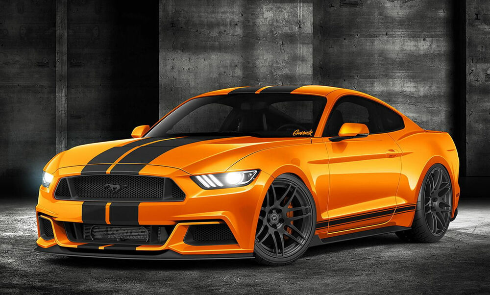 Ford Mustang Gt 350 Orange Edible Birthday Cake Topper 1 4