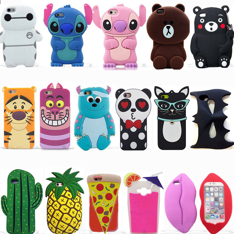 hot new 3d cute cartoon animal soft silicone case covers