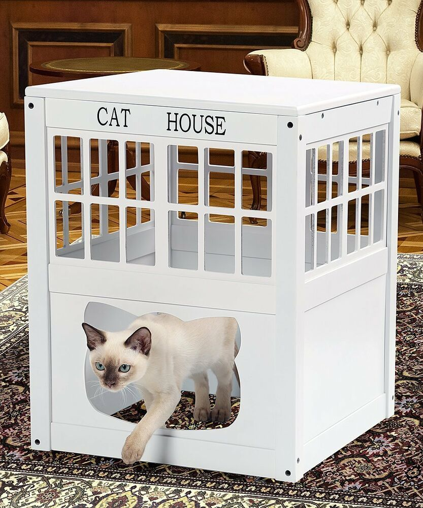 cat kitty litter hide away end table cabinet litter box. Black Bedroom Furniture Sets. Home Design Ideas
