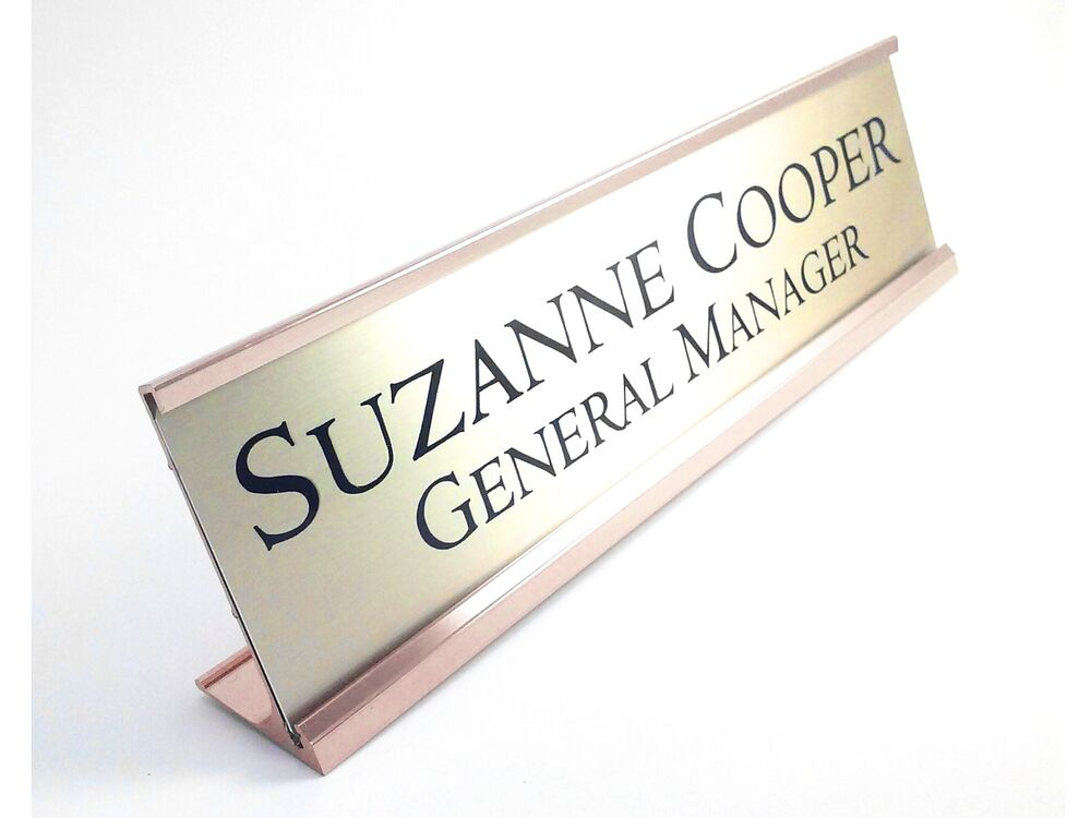 Name Plate: Desk Name Plate Gold Look With Gold Color Aluminum Holder