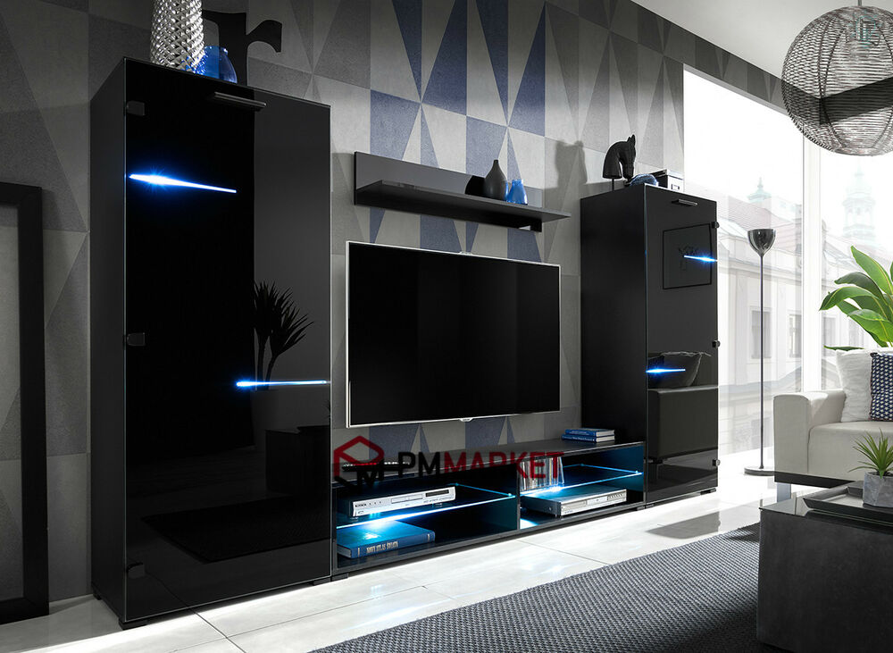 Living room high gloss furniture set display wall unit - What size tv to get for living room ...