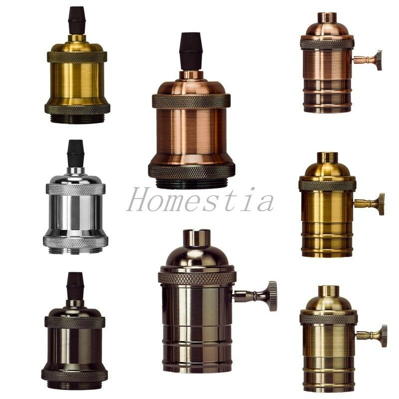e27 e26 light bulb lamp holder pendant vintage edison screw cap socket w switch ebay. Black Bedroom Furniture Sets. Home Design Ideas