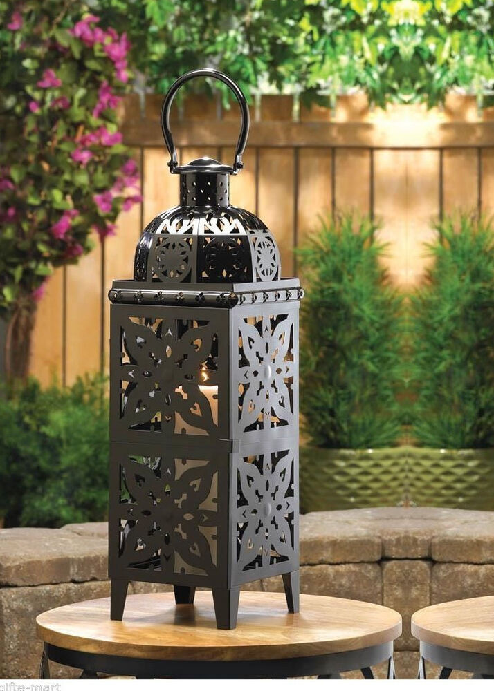Xl Black 25 Quot Tall Moroccan Candle Holder Outdoor Terrace