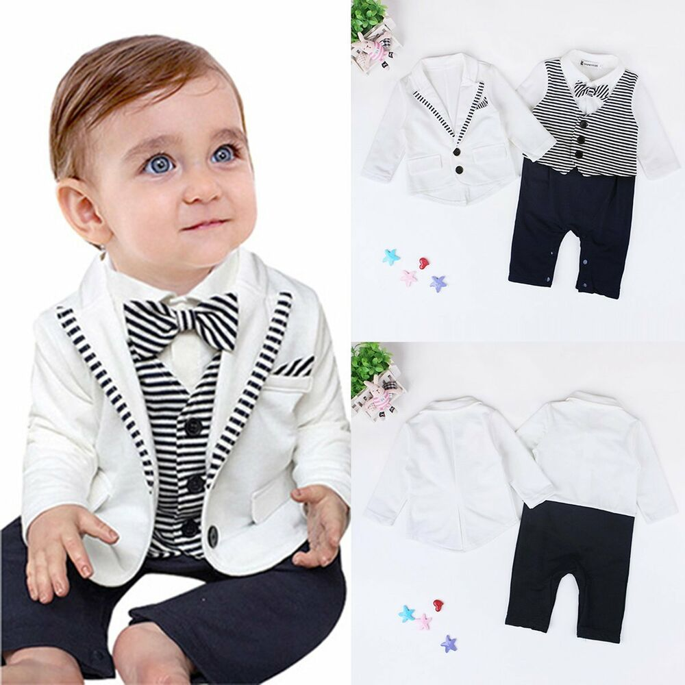 2pcs Toddler Kid Baby Boy Gentleman Suit Coat+Romper Bodysuit Clothes Outfit Set | eBay