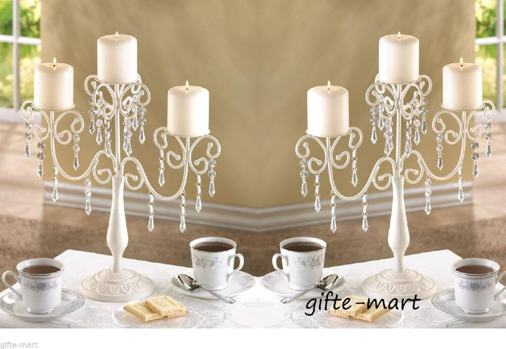 Ivory white crystal candelabra candle holder wedding