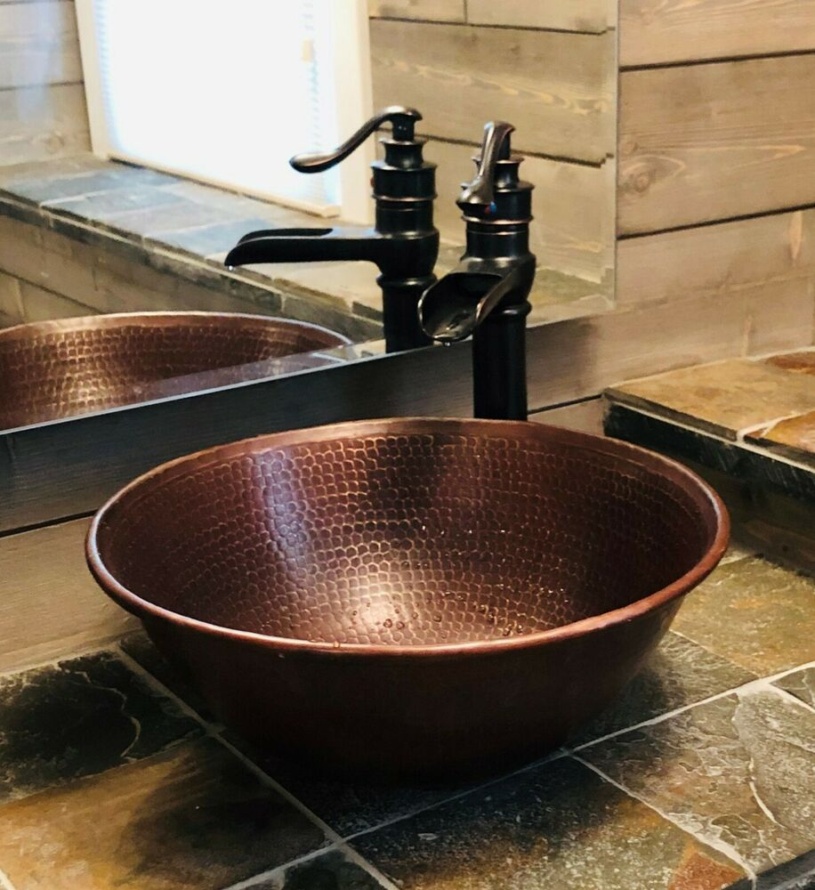 copper bathroom sinks 14 quot hammered copper vessel bowl vanity sink ebay 12513
