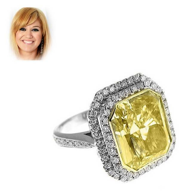 925 Sterling Silver Celebrity Inspired Ring Yellow Emerald