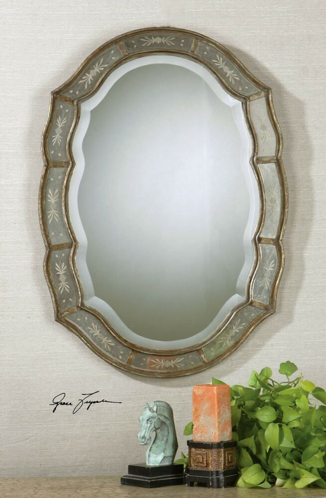 TUSCAN TRADITIONAL ETCHED GLASS ANTIQUED GOLD FIFI OVAL BEVELED WALL MIRROR