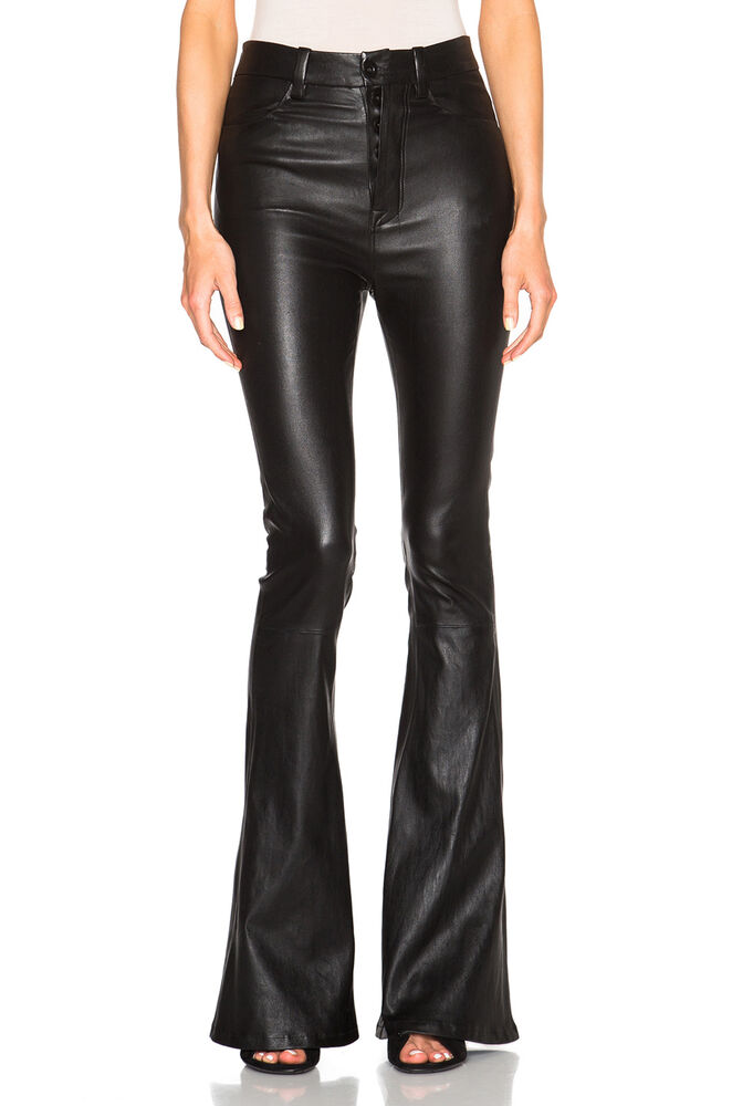 New Genuine Leather High Waist Flare Pants Trouser Bell