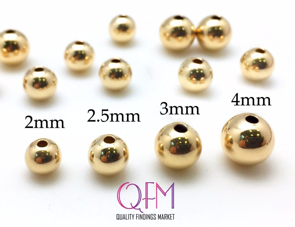 100 pcs Gold Filled Seamless Round Spacer Beads, 2mm, 2.5mm, 3mm, 4mm