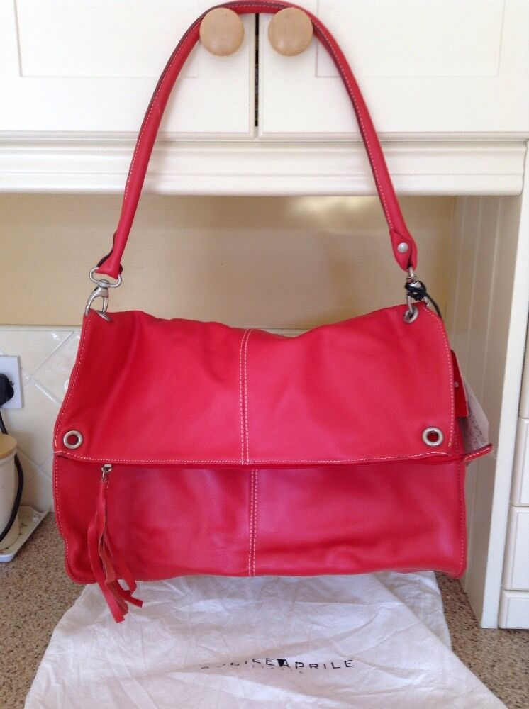 1a9ce405db72 Details about STUNNING APRILE APRILE RED LEATHER SHOULDER BAG BNWT RRP £139  SMALL DEFECT