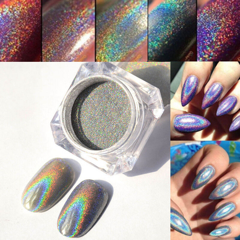 Extra Fine Holographic Chrome Nail Art Powder: 2g Rainbow Holographic Laser Powder Nail Glitter Chrome