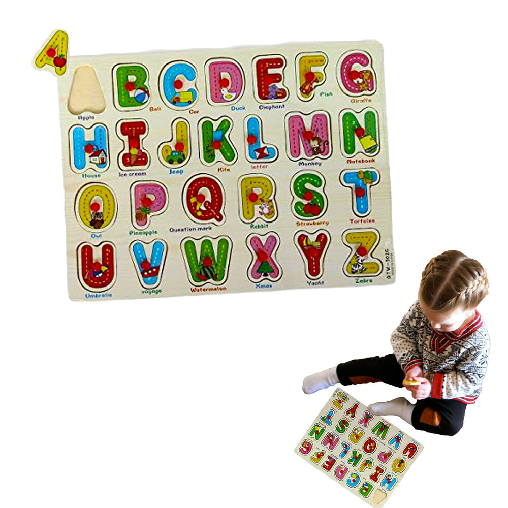 Toddler Toys Puzzle : Dazzling toys wooden peg puzzle toddler s alphabet jigsaw