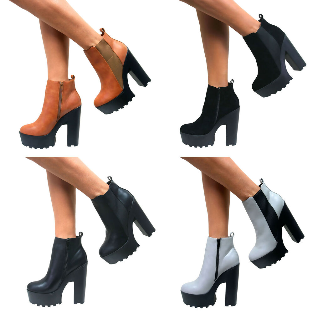 LADIES WOMENS CHUNKY CLEATED TRACTOR SOLE PLATFORM HIGH HEEL ANKLE ...