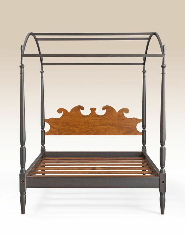 Queen Size Canopy Bed Tiger Maple Wood Headboard