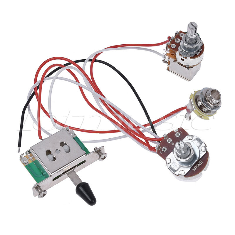 electric guitar wiring harness prewired kit 3 way toggle switch 1v 1t 500k jack ebay. Black Bedroom Furniture Sets. Home Design Ideas