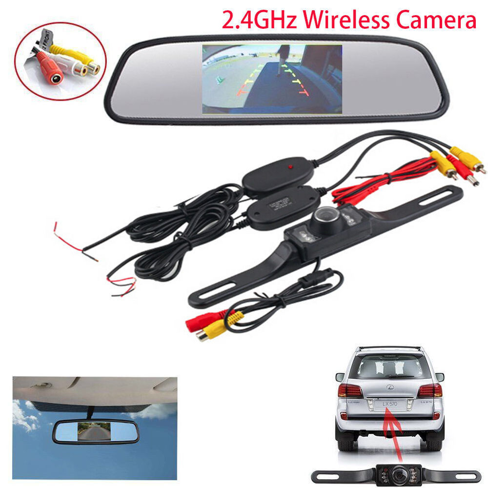 4 3 inch tft car lcd rearview dvd mirror monitor with wireless backup camera kit ebay. Black Bedroom Furniture Sets. Home Design Ideas