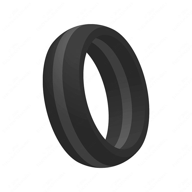 Hypoallergenic Wedding Rings: Gray Stripe Silicone Wedding Band Engagement Ring