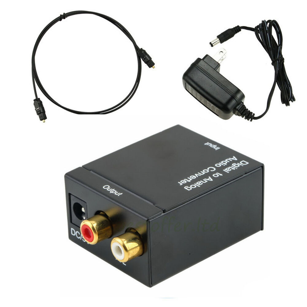 digital optical coaxial toslink signal to analog audio converter adapter rca new ebay. Black Bedroom Furniture Sets. Home Design Ideas