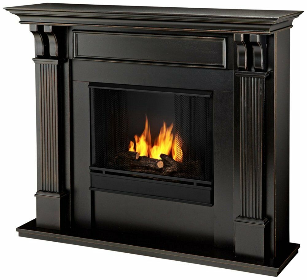 Real flame ashley ventless gel fireplace black wash 7100 bw new ebay - Black and white fireplace ...