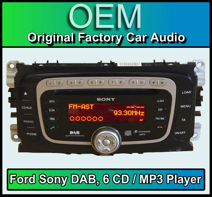 ford focus dab radio with 6 disc cd mp3 player ford sony. Black Bedroom Furniture Sets. Home Design Ideas