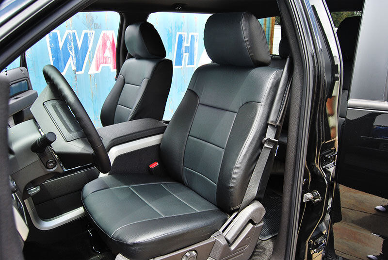 ford f 150 2009 2013 black charcoal iggee s leather custom fit front seat cover ebay. Black Bedroom Furniture Sets. Home Design Ideas