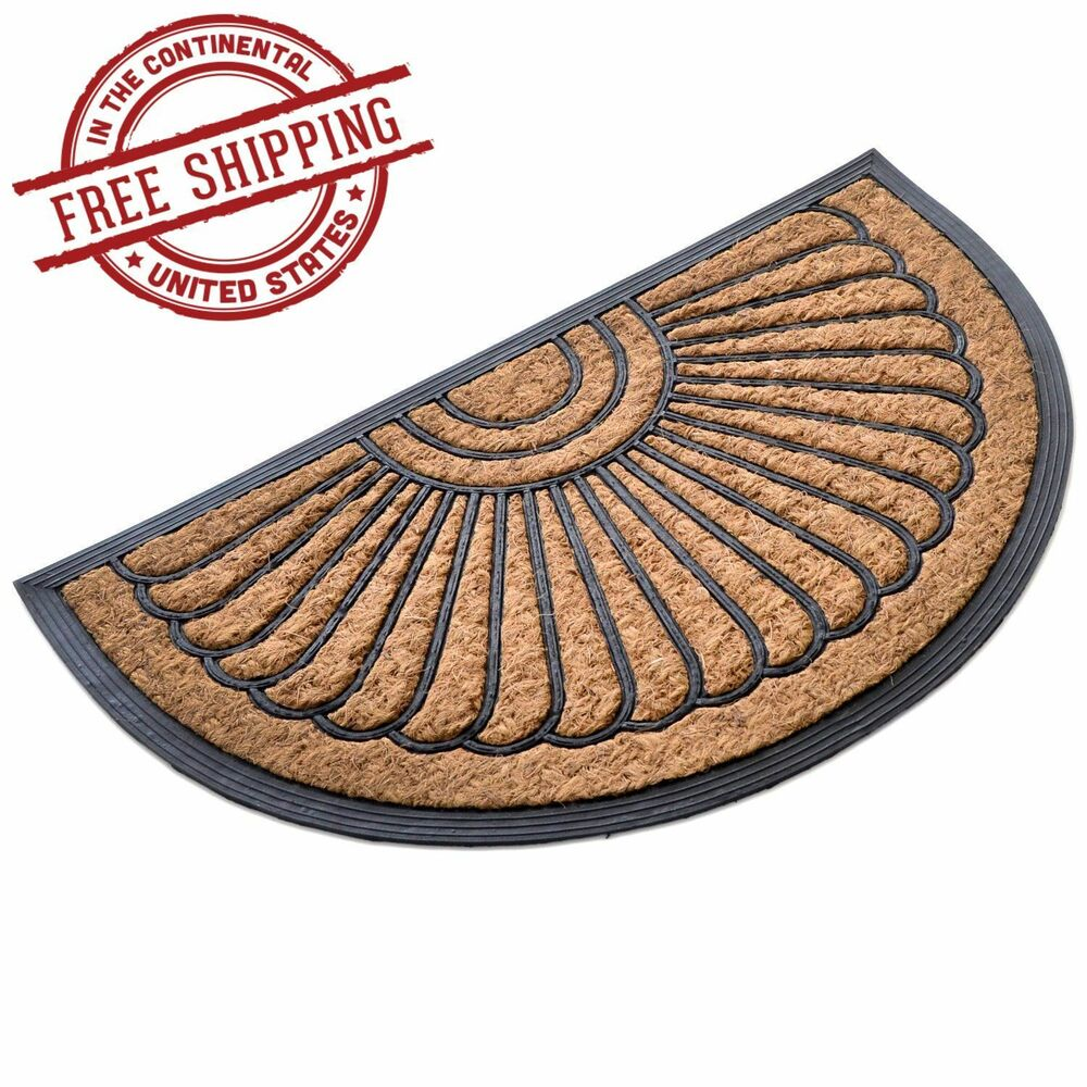 welcome mat front back door outdoor doormat round half moon entrance porch home ebay. Black Bedroom Furniture Sets. Home Design Ideas