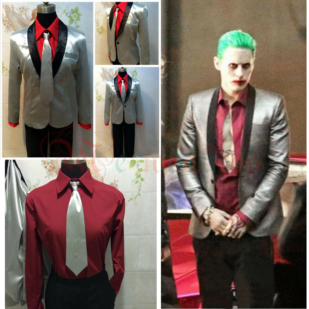 super popular ec129 64e39 Details about Suicide Squad The Joker Costume Cosplay Suit Silver Jacket  Coat Psychos Killers