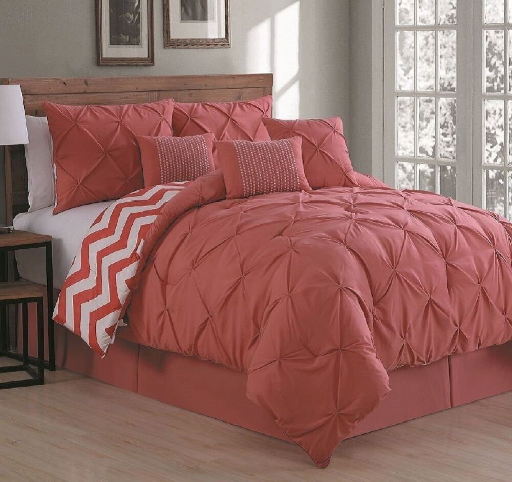 Reversible 7 piece comforter set king size bed bedding for Blankets king size bed
