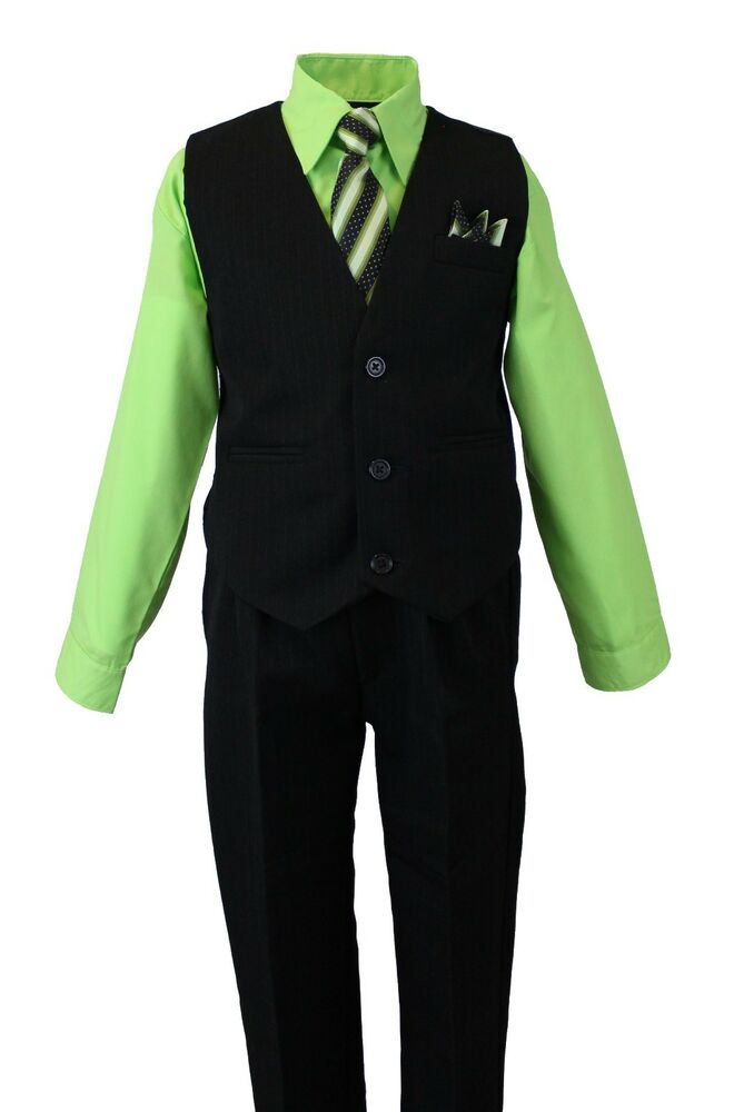 Boyu0026#39;s Formal Vest Set With Dress Shirt Pinstriped Vest Pants And Tie Lime Green | EBay