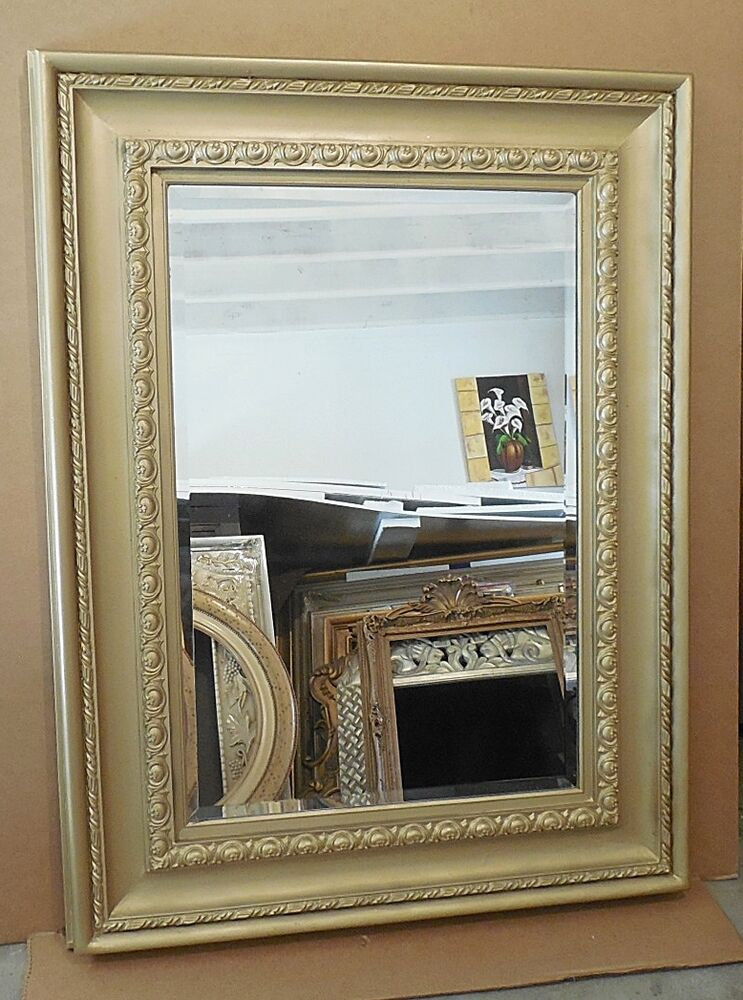 Large solid wood 38x50 rectangle beveled framed wall for Large wall mirror wood frame
