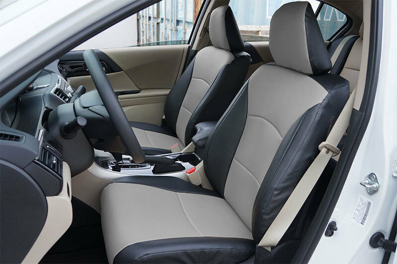 honda accord 2013 2016 black grey s leather custom made fit front seat cover ebay. Black Bedroom Furniture Sets. Home Design Ideas