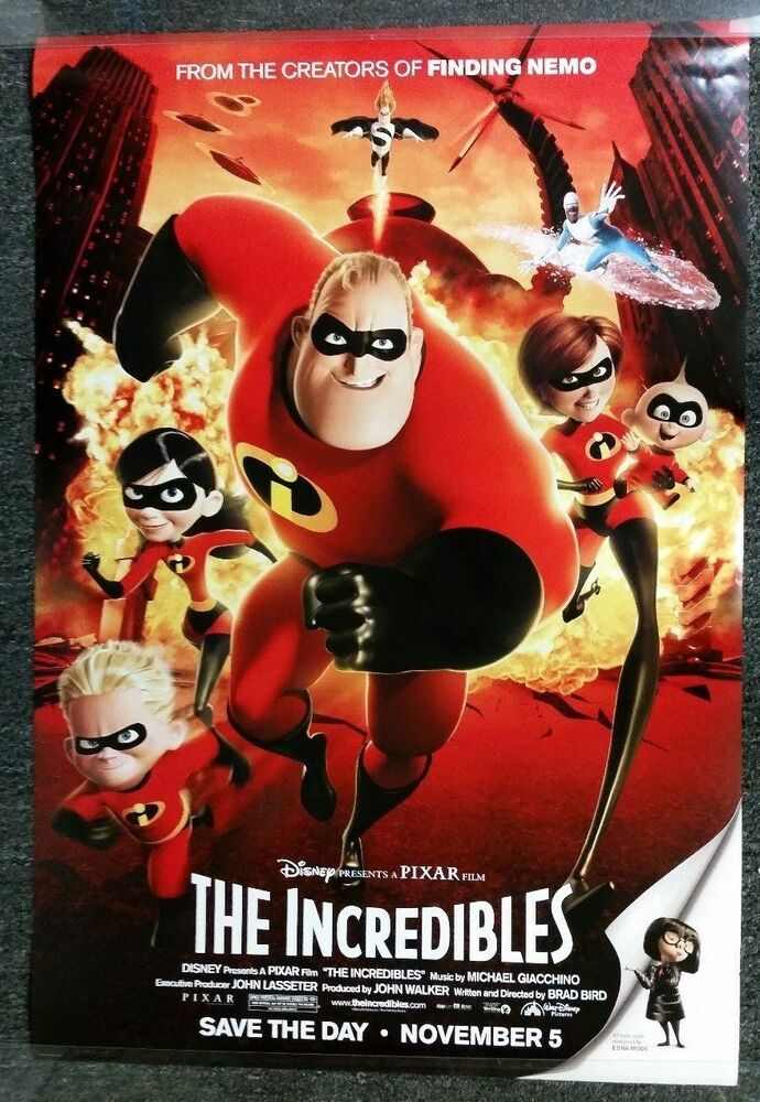 The Incredibles 2004 Original Movie Poster 27x40 Rolled ...