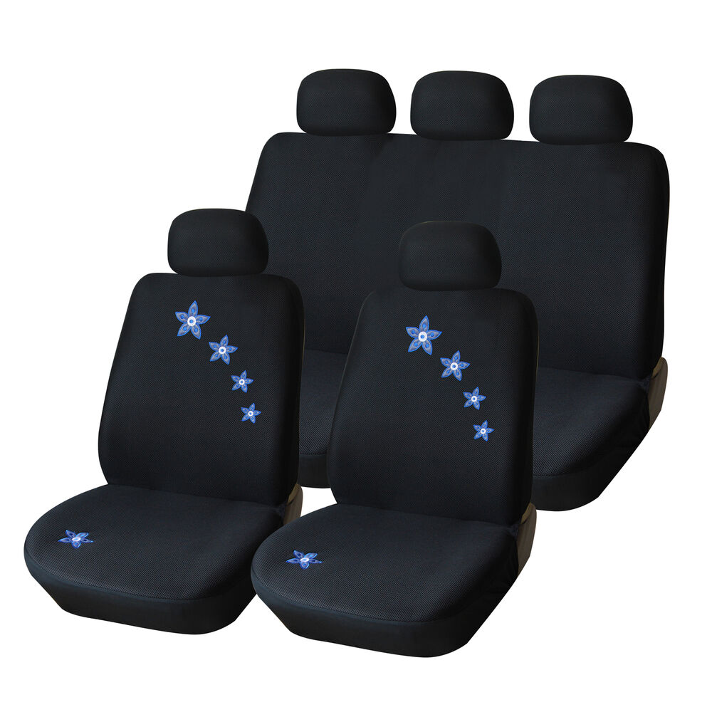 Universal BlueampFlower Stitchi Front Car Seat Cover For Car