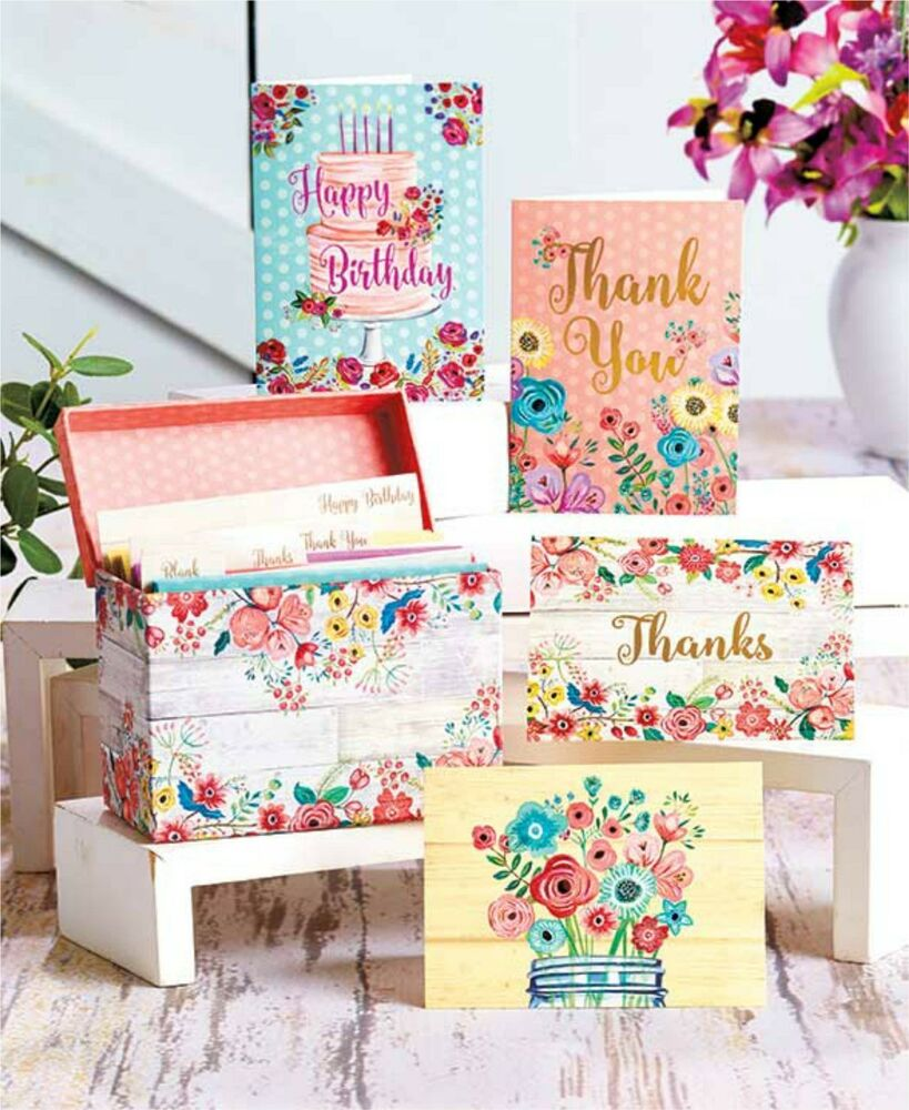 32pc Assorted Greeting Cards Boxed Notecard Set Woodwash