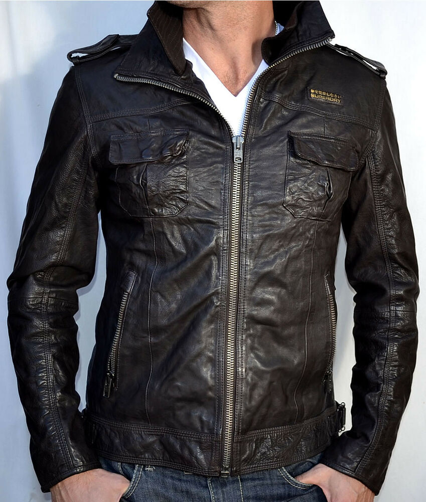 Superdry: Men's Leather Motorcycle Jacket