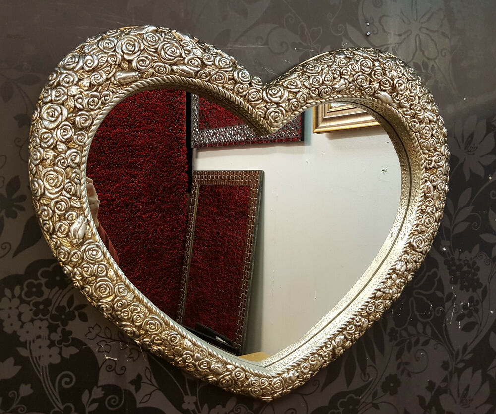 Heart Wall Mirror Ornate Champagne Silver Frame French