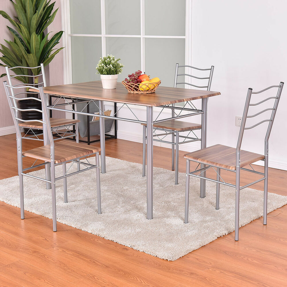 5 piece dining set wood metal table and 4 chairs kitchen for Modern dining table and chairs set