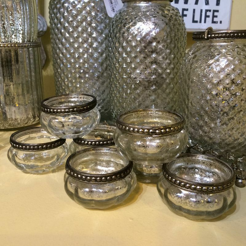 set of 4 pumpkin silver rim mercury vintage glass tea light holders wedding ebay. Black Bedroom Furniture Sets. Home Design Ideas