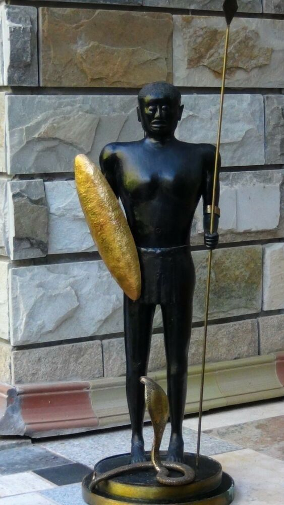 Deco African Wood Carved Warrior Statue With Spear Amp Shield Cobra Snake Ebay