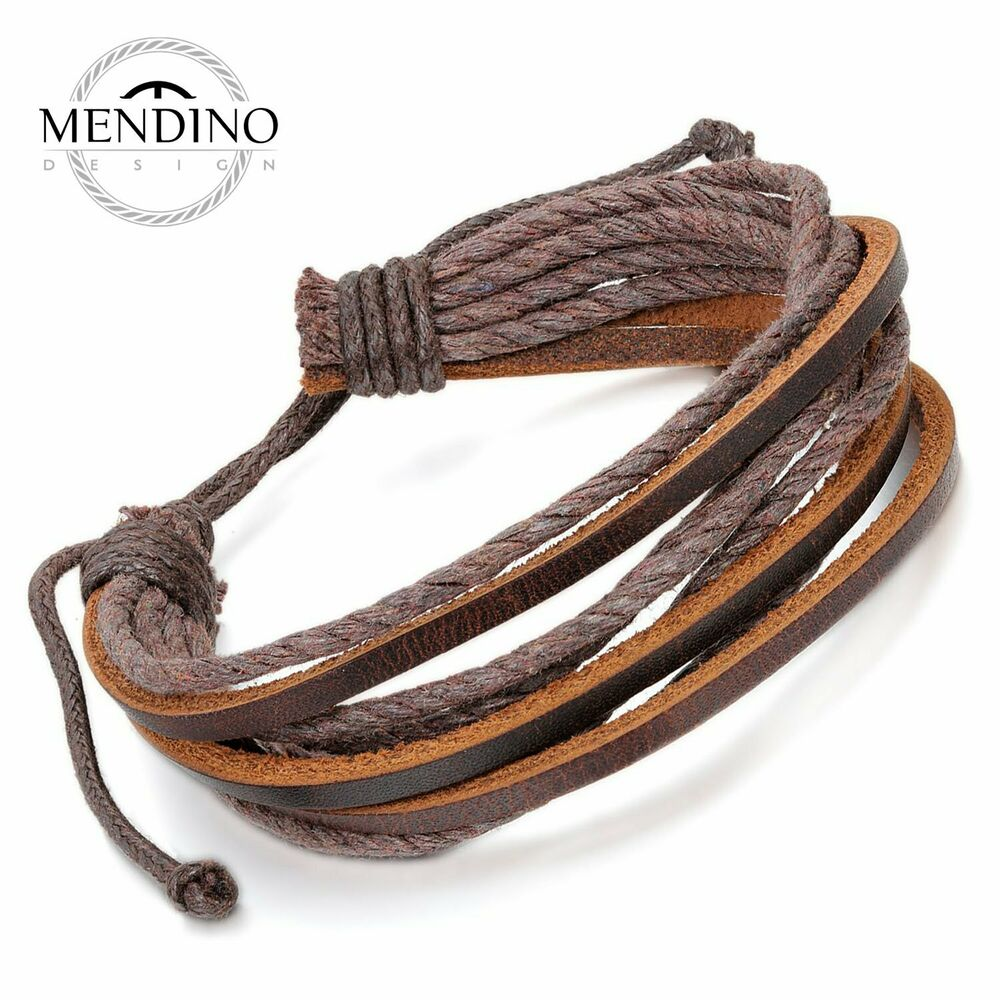 MENDINO Handmade Men's Leather Bracelet Woven Hemp Rope ...