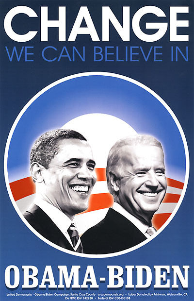 Limited Issue 2008 Obama Biden CHANGE Jugate Campaign ... Obama Campaign Poster Official