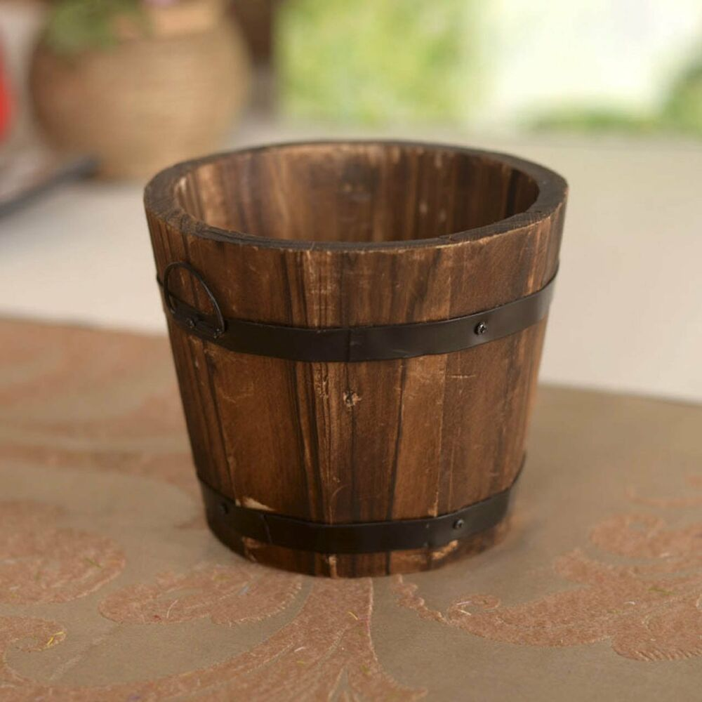 Garden Country Rustic Small Wall Mounted Wooden Barrel
