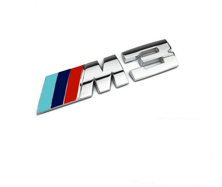chrome m 3 emblem badge sticker 3d for bmw m3 e36 e46 e90 e92 series blue ebay. Black Bedroom Furniture Sets. Home Design Ideas